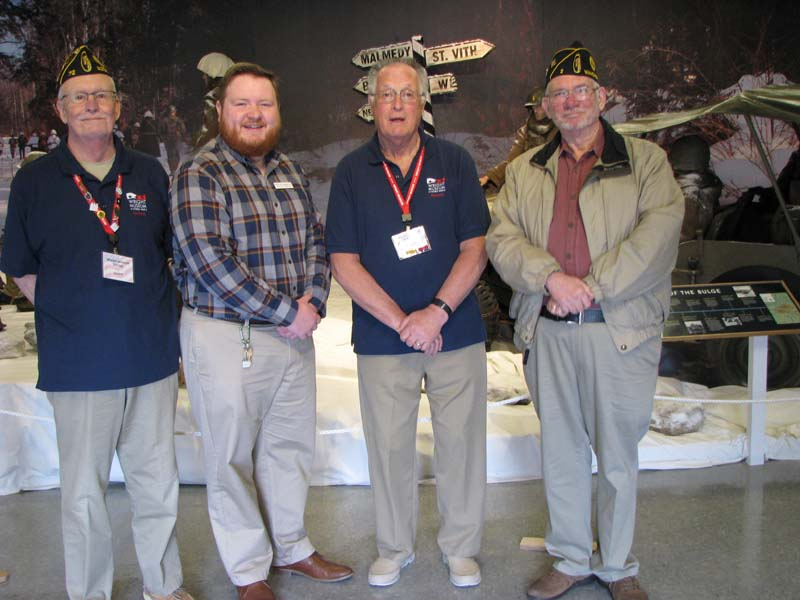 Commander Post 72 Martin Chabot, Curator Justin Gamache, Docent Allan Bailey and Historian Wayne Mitchell