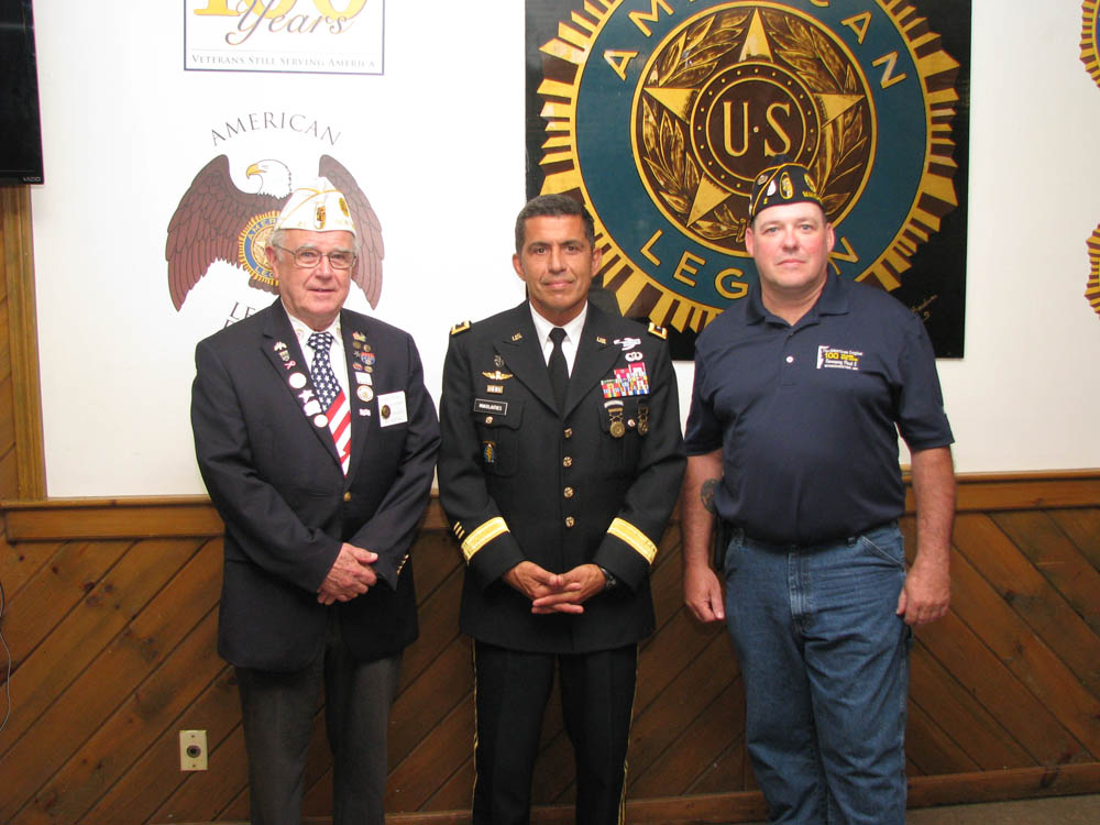 From left to right - Dept. Commander Brooks, Major General Mikolaties and Post Commander Gravel