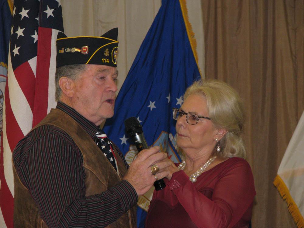 U.S. Navy member from Post 114 receiving his pin 2019