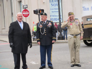 The Honorable Mayor Theodore Gatsas with Manchester Veteran's Council CDR Beliveau and Grand Marshall & WW-II Veteran Lionel LeBlanc in Veterans Day Parade.