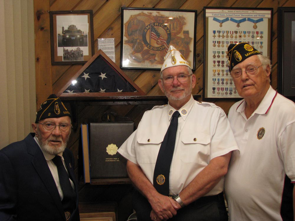 (Left to Right) Bill Morin (Chaplin), Wayne Mitchell (Historian) and Jim Gosenbeck (Sargent at Arms)