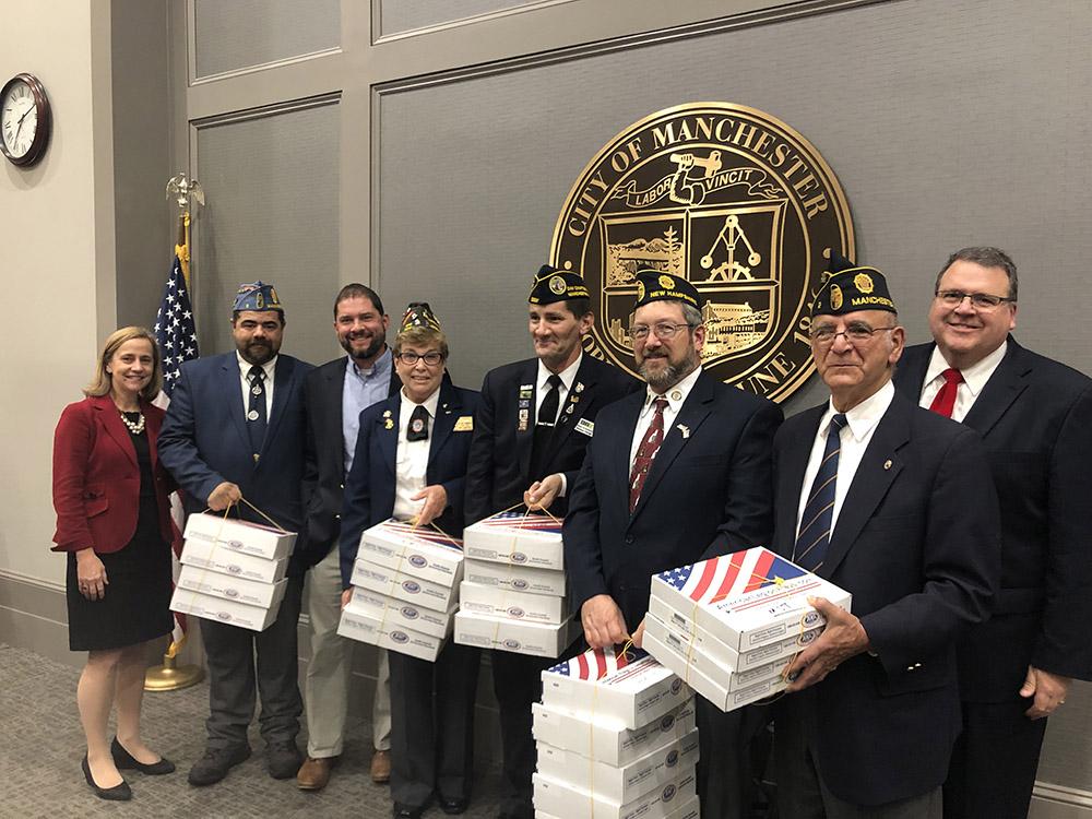 Veterans Donate Flags, (Left to Righ)t Mayor Graig, Andy Brown, Jimmy Lehoux, Susan Cuddy, Tom Clough, Pat Graham, Mike Lopez, John Goldhardt
