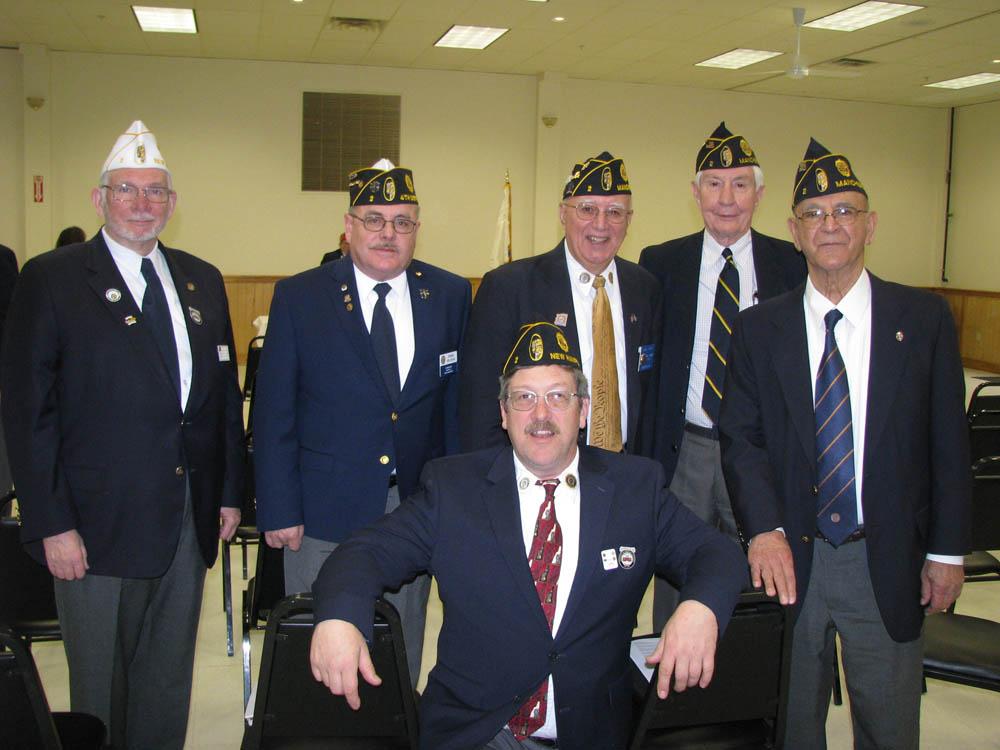 Sweeney Post Delegates (Rear Row) left to right) Wayne Mitchell, Dan Believeau, Tony Violanti, Bill Biser, Mike Lopez (front row) Pat Grahan